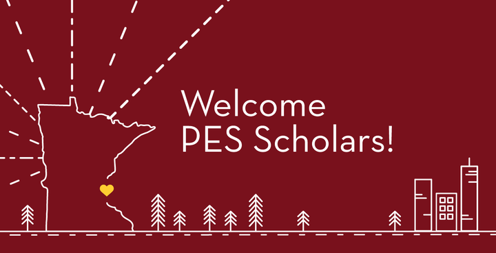 Welcome PES Scholars with graphics of the state of Minnesota and an abstract city skyline and trees